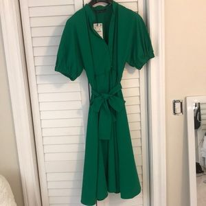 green Zara dress with belt and pockets